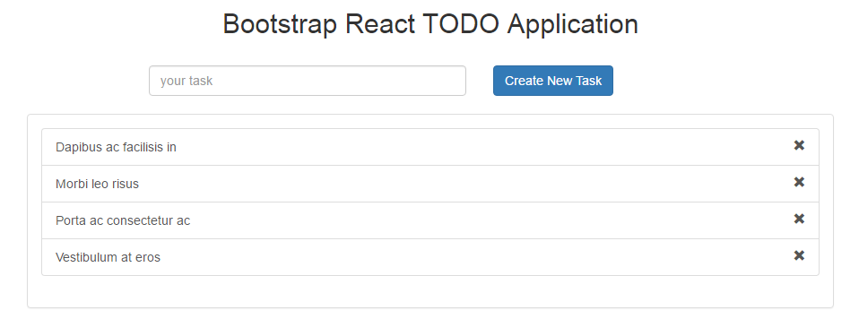 react component structure of todo application